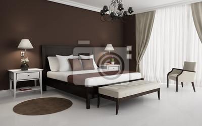 Klassisch, braun, luxus-schlafzimmer, mit kronleuchter und sofa ...