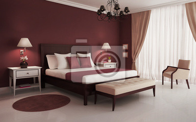 Fototapete Klassisch, Rot, Luxus Schlafzimmer, Mit Kronleuchter Und Sofa