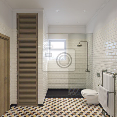 Klassische badezimmer 3d illustration fototapete • fototapeten ...