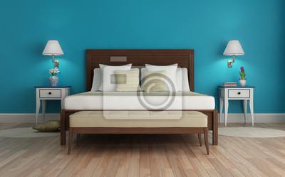 Klassische, frisch türkis, luxus-schlafzimmer, mit kronleuchter ...