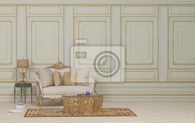 fototapete klassische mobel und klassischen sessel in luxuriosen wohnzimmer 3d rendering