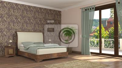 Klassische schlafzimmer 1 fototapete • fototapeten Hotelzimmer, ant ...