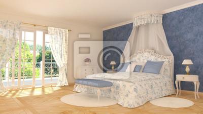 Klassische schlafzimmer - blau weiß fototapete • fototapeten ...