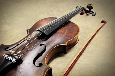Fototapete Klassische Violine auf Grunge Papier Textur.