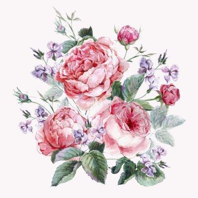 Fototapete Klassische Weinlese-Blumengrußkarte, Aquarell Strauß