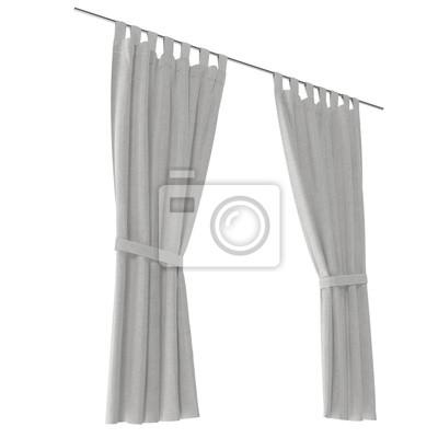 Klassischer Warmer Weißer Vorhang Isoliert Auf Weiß 3d Abbildung