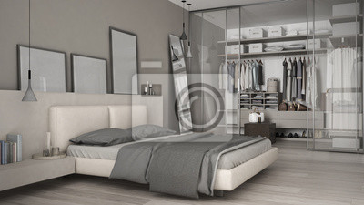 Fototapete: Klassisches minimales schlafzimmer mit begehbarem kleiderschrank
