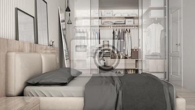 Klassisches minimales schlafzimmer mit begehbarem ...