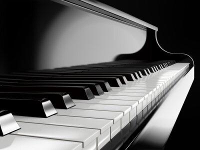 Fototapete Klaviertasten auf schwarzem Klavier