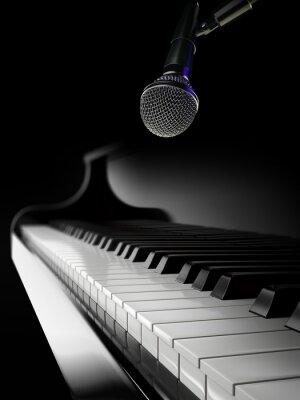 Fototapete Klaviertasten auf schwarzem Klavier mit Mikrofon