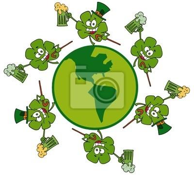 Kleeblatt-lauf um ein globe mit grünen und gelben bier fototapete ...
