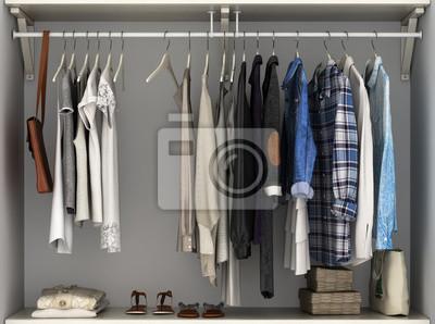 Kleiderschrank Eingebaute Wand Mit Kleidung 3d Render Fototapete
