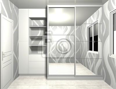 fototapete kleiderschrank mit spiegel schiebeturen 3d rendering design