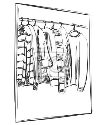 Kleiderschrank gezeichnet  Kleiderschrank skizze. kleider an den kleiderbügeln fototapete ...