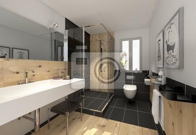 Klein raffiniert modern bad badezimmer duschbad minibad fototapete ...