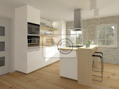 Kleine Einbaukuche Mit Holz Und Kochtheke Fototapete Fototapeten