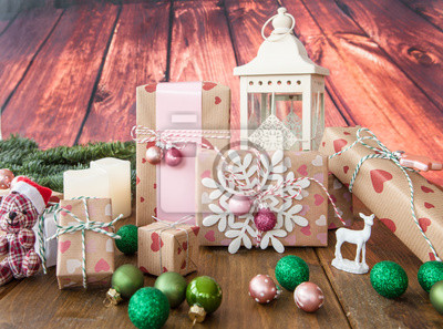 Weihnachtsdeko Geschenke.Fototapete Kleine Geschenke Und Weihnachtsdeko