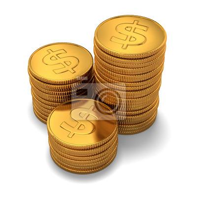 Kleine Gruppe Von Gold Dollar Münzen Auf Weiß Fototapete