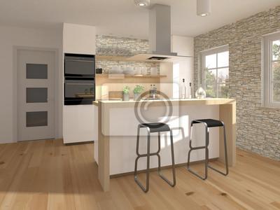 Kleine küche mit holzelementen fototapete • fototapeten ...