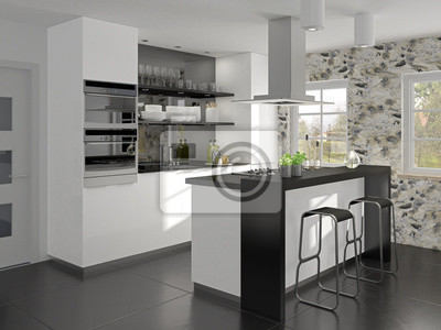 Kleine küche mit kochinsel und theke fototapete ...