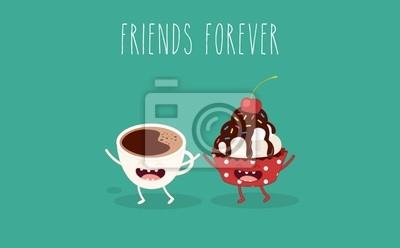 Kleine Kuchen Und Eine Tasse Kaffee Comic Figuren Vector Cartoon