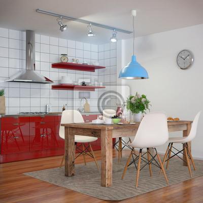 Kleine Moderne Kuche In Rot Und Ein Gedeckten Fruhstuckstisch