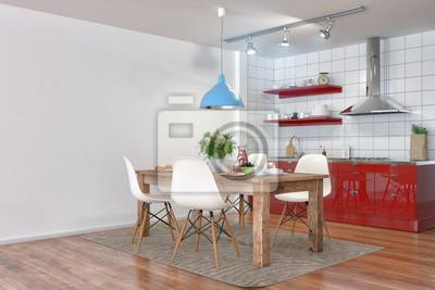 Kleine, moderne küche in rot und ein gedeckten frühstückstisch ...