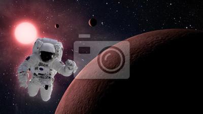 Kleine Planetensystem mit Astronauten im Weltraum