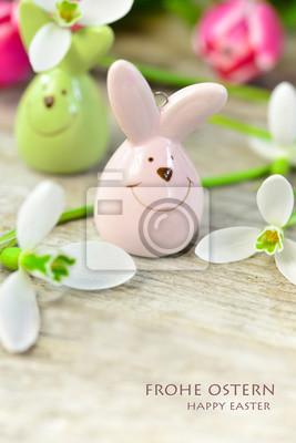 Kleine Süße Osterhasen Figuren Aus Porzellan Fototapete