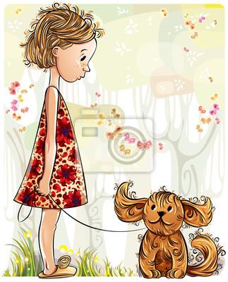 Fototapete Kleines Mädchen mit Welpen in den Parks. Vektor-Illustration.