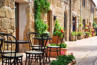 Fototapete Kleines Restaurant Mit Straße In Der Alten Stadt Italien