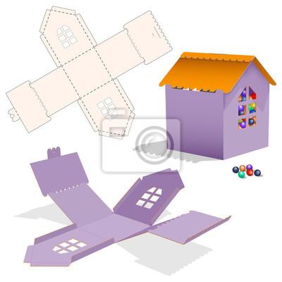 Kleinkasten mit blueprint vorlage. karton geformt öffnen carry ...