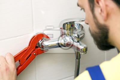 Badezimmer Installation, klempner installation wasserhahn im badezimmer fototapete, Design ideen