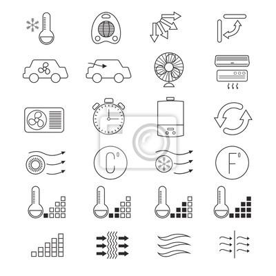 Klimaanlage, kühlung vektor dünnen linie symbole fototapete ...