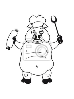 Koch Kochen Grillen Bbq Chef Kuche Schurze Lecker Essen Hunger