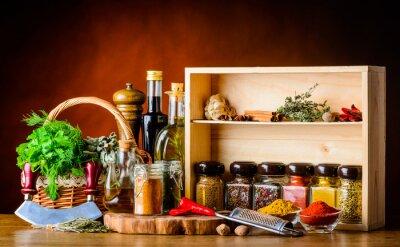 Fototapete Kochen Zutaten, Gewürze und Kräuter