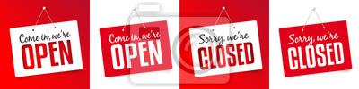 Fototapete Kommen Sie herein wir sind offen / Sorry, wir sind geschlossen