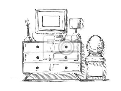 Fototapete Kommode, Stuhl, Lampe Und Dekoration. Vektorillustration Einer  Skizzenart.
