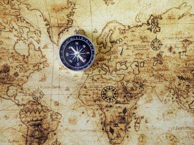 Fototapete Kompass auf Vintage-Karte. Retro-Stil.