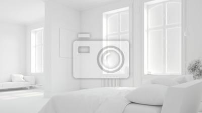 Komplett weißes schlafzimmer in altbauwohnung fototapete ...