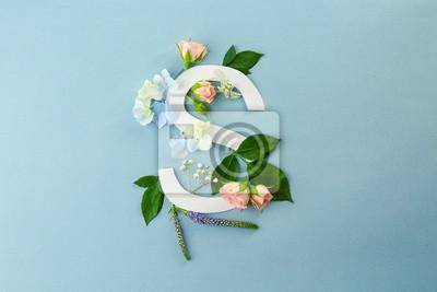Komposition mit Buchstaben S und schöne Blumen auf farbigem Hintergrund