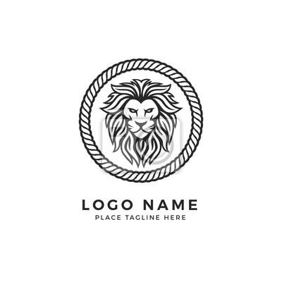 Lion Template | Konig Lion Head Logo Template Starkes Glare Lion Face Elegantes
