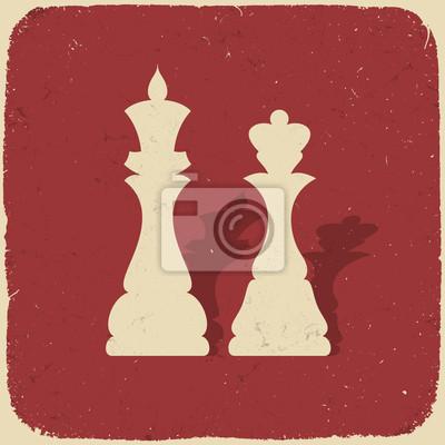 König und Königin. Retro Schach Hintergrund, Vektor-Illustration, EPS-