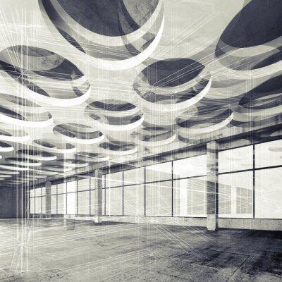 Fototapete Konkrete Innen-und Draht-Frame-Linien, 3D-Darstellung