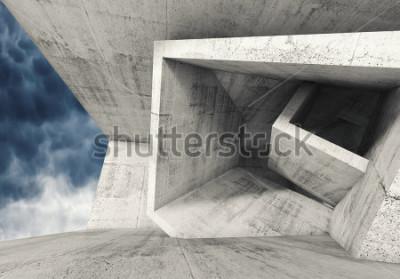 Fototapete Konkreter Rauminnenraum mit chaotischen Kubikstrukturen und dunklem bewölktem Himmel draußen. Abstrakter Architekturhintergrund, Illustration 3d