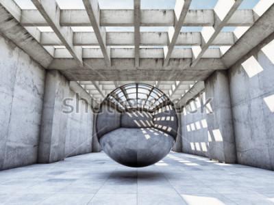 Fototapete Konkreter Tunnel des Kunstkonzeptes mit Metallkugel. 3D Abbildung.