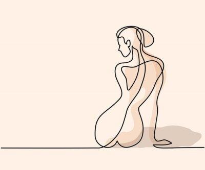 Fototapete Kontinuierliche Linienzeichnung. Frau sitzt zurück Weiche Farbe Vektor-Illustration