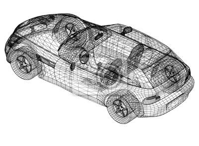 Konzept auto blaupause - 3d perspektive fototapete • fototapeten ...