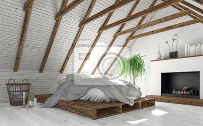 Fototapete Konzept Der Dachboden Schlafzimmer