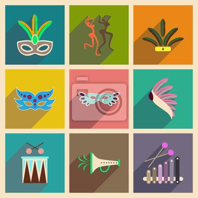 Fototapete Konzept der flachen Icons mit langen Schatten brasilianischen Karneval